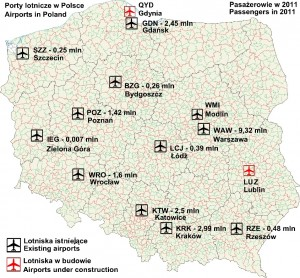 Map of Poland with airport locations and 2011 passenger traffic data