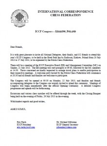 ICCF Congress 2013 - Letter of Invitation