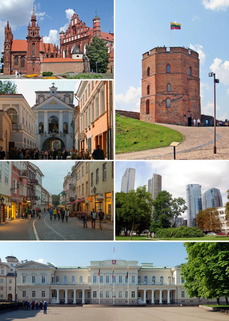 Wilno - wg wskazówek zegara: kościół św. Anny, baszta Giedymina, centrum biznesowe miasta, Pałac Prezydencki, ul. Zamkowa, Ostra Brama